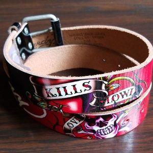 "Ed Hardy ""Love Kills Slowly"" Leather Belt"